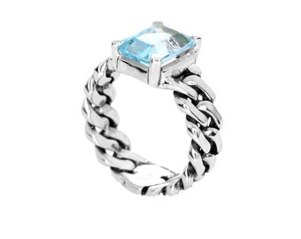 Barbados silver ring with natural blue topaz. Solitaire, statement, wedding, engagement, gift, flat links, bands, natural gemstones