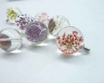 4pcs Mixed  20mm Handmade Dried Flowers Glass Cabochon Pendant Charms With White K bail