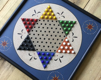 Chinese Checkers, Game Board, Wood, Primitive, Folk Art, Game Boards, Marbles, Glass Marbles, Hand Painted