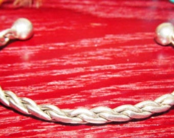 Vintage Sterling Silver Braided/Twisted  Bracelet
