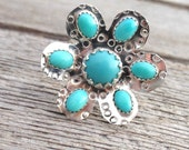 Sleeping Beauty Turquoise Sterling Silver Ring, fits size 7-7.5 , turquoise statement ring, turquoise cocktail ring turquoise flower ring