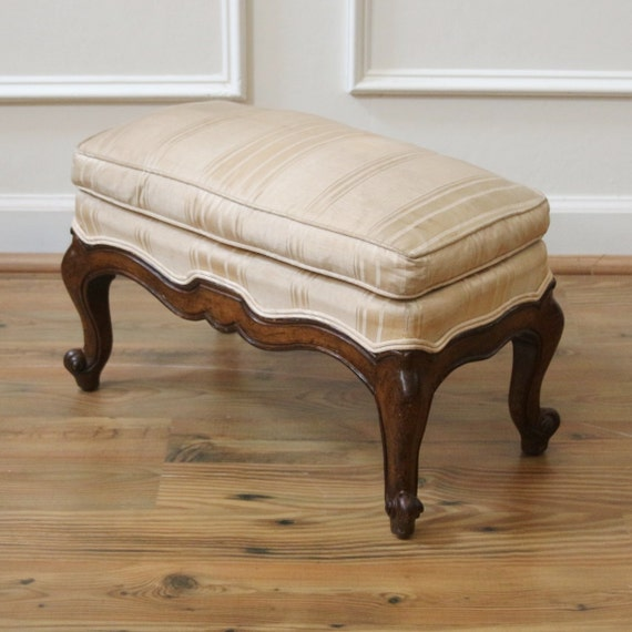Antique French Small Upholstered Foot Stool Bench.