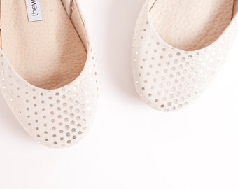 Silver Dots Sparkly Ballet Flats | Shiny Leather Ballerinas | Bridal Flat Shoes in Glitter Dots | Silver Dotty ... Ready to Ship