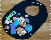 Minecraft Baby Bib, Recycled T-Shirt Baby Bib, Video Games, Baby Boy Gift Baby Shower