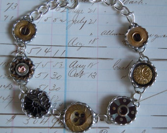 Fiona & The Fig- Antique-Victorian-Metal-Brass-Inlay Mother of Pearl-Mourning Button Bracelet-Soldered
