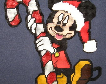 Candycane Mickey Mouse Plastic Canvas Pattern