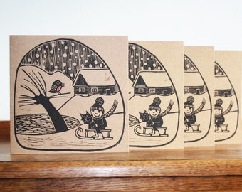 Set of 4 Cards, Winter Village, Hand Printed Card, Linocut Card, Christmas Blank Greeting Card, Brown Kraft Card, Free Postage in UK,