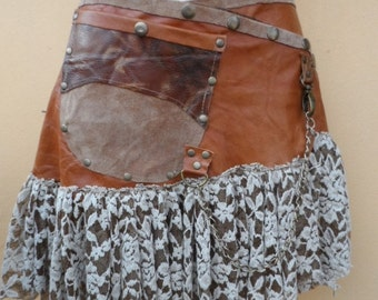 20%OFF steampunk bohemian gypsy leather skirt belt with dog clip & with pocket ...42'' to 48'' hips or waist...