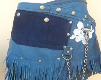 """20%OFF BURNING Man fringed suede belt with stud detail.chain,2 pockets ...38"""" to 46"""