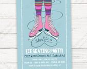 Ice Skating Birthday Invitation - I Heart Skating - Printable or Printed Invitations