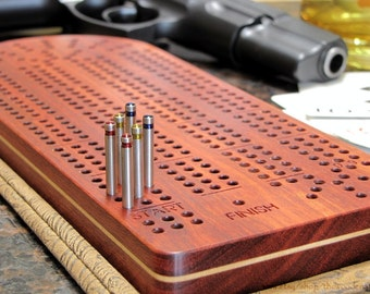 Cribbage Board Personalized-Exquisite Bloodwood with Stainless Steel Cribbage Pegs