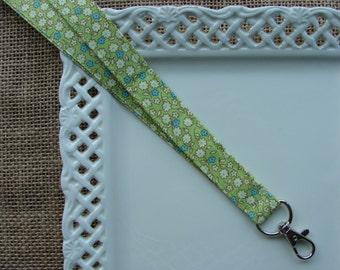 Fabric Lanyard  - Beautiful Flowers on Apple Green