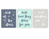 Baby Nursery Art - Look at the stars - Moon and Stars Nursery Decor - Quote prints - Kids Wall Art - Baby Gift - Gift for Baby - Baby Gifts