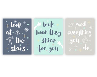 Baby Nursery Decor - Moon and Stars Nursery Decor Quote Prints Look at the stars Kids Wall Art Baby Gifts for Baby - Blue Aqua Gray Grey Art