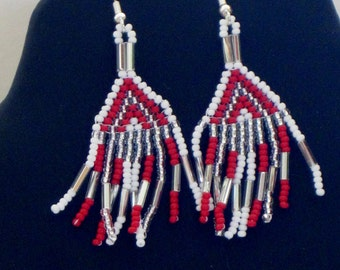 Native American bead weaving earrings in red, silver and white