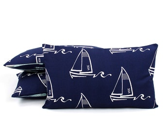 Sailboat Lumbar Pillow Cover 12x20, Nautical Pillow, Blue and White Pillow, Sailing Pillow, Boat Pillow, Kids Pillow, Smooth Sailing