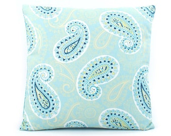 Paisley Teal Pillow Cover 18x18, Green Pillow, Turquoise Pillow, Throw Pillow, Accent Pillow, Cushion Cover, Toss Pillow, Picking Paisleys