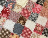 Rag Quilt Baby Blanket Rustic Blush Shabby Roses Chic Patchwork Blanket Stroller Newborn Bassinet Quilt 24x28 Ready to Ship