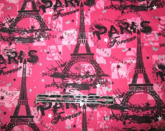 Paris Forever fabric.  Pink and Black fabric.  Eiffel Tower Hearts Paris.