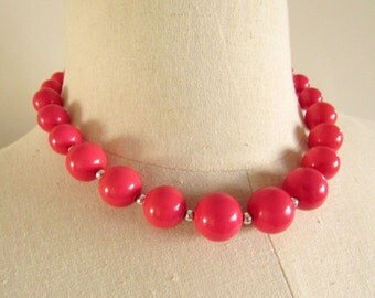 Bright Pink Vintage Beaded Necklace