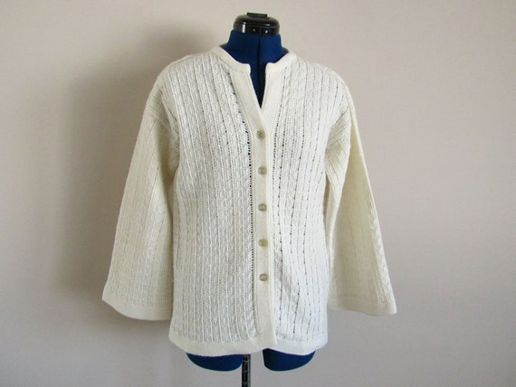 White Ladies Sweater with Silver Glitter Buttons, Large or Medium