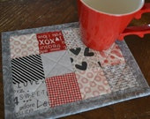 Red Black Gray Mug Rug, Love, Valentine Mini Placemat, Patchwork Mug Mat, red hearts