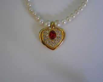 Pearl Necklace Choker with Crystal and Red Heart Pendant and Matching Earrings