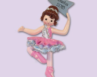 BALLERINA PERSONALIZED Christmas Ornament Hand Painted RESIN - Shiny Finish