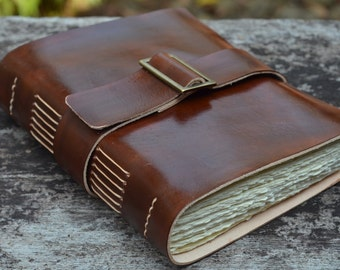 "Leather Journal, handmade, 5X7"", Rustic, Free Initials"