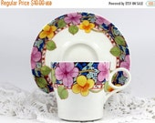Japanese Mikasa Laureate Teacup and Saucer - Vintage Floral Tea Cup and Saucer Set 11861