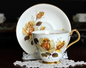 Cup and Saucer, Royal Imperial, Vintage Teacups, Yellow Roses, Bone China 13660