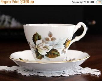Floral Teacup, Tea Cup and Saucer, Royal Ascot. English Bone China Yellow Roses Motif 13640
