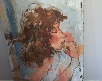 Vintage painting on canvas, 60's Girl