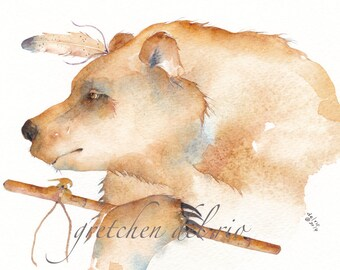Watercolor 8 x 10 Giclee PRINT 'BEAR Spirit Shaman' totem animal Native American peace pipe - free shipping