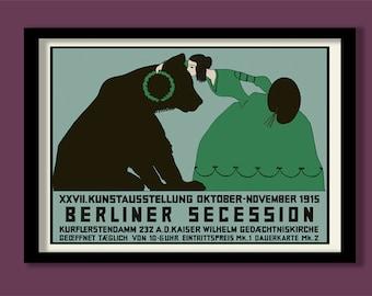 Art Nouveau Poster. Berlin Secession. Exhibition poster. Bear print. German Art poster. Vintage stamp print. Art Nouveau wall art.