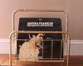 Record Storage.... Vintage Brass Record Rack and Organizer, Magazine Rack, Bamboo Brass, Vinyl Organization