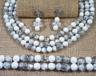 Vintage Napier Faceted White Art Glass and Milk Glass Rondelle Rhinestone Bead Full Parure Set Necklace Bracelet Earrings Wedding Bride
