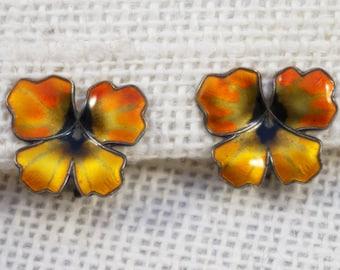 David Andersen Designer 1950s Orange, Yellow and Green Pansy Flower Earrings