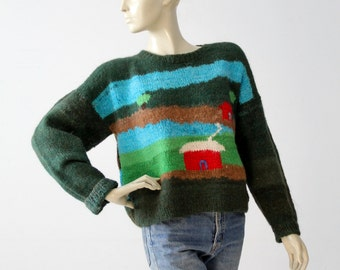 vintage novelty pattern sweater, green wool pullover