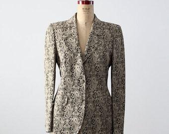 SALE Alan Austin paisley blazer, 1980s vintage metallic print jacket