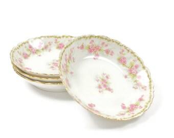Limoges Bowls - SET of 4, Dessert Bowls, Berry Bowls, Sauce Bowls, Pink Floral Bowls, Bawo & Dotter Bowls, Antique French Bowls, c.1890s