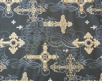 SALE ornate crosses in black, for Michael Miller Fabrics, 1/2 yd