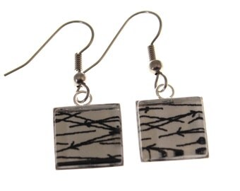 Needle in a Haystack. Square Chiyogami Earrings. Black and White