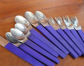 Retro Flatware with Blue  Handles for Crafting STANLEY ROBERTS BIN 54