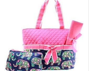 Personalized Quilted Elephant 3pc Diaper Bag Set  - 2 Colors
