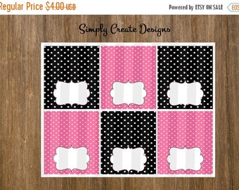 SALE Pink and Black Food Labels Polka Dot NON Personalized 8.5x11 Digital File JPEG \