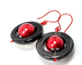 Red and Black Round Orbit Earrings, Texas Tech Colors