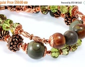 ON SALE Red Creek Jasper Bracelet, Copper, Crystals, Two Strand, Woodland Chic, Rustic Chic
