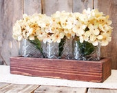 Planter box, jar box, table centerpiece, glass jar, country home decor, farmhouse table, Spring Centerpiece, Summer decor, daisies