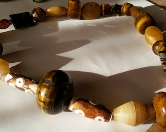 TRENDING for Fall -  Cat's Eye and Dzi Bead - An Original Artisan Necklace in Earthy Colors